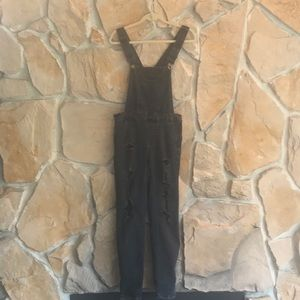 DollHouse Denim Black Acid Wash Ripped Overalls
